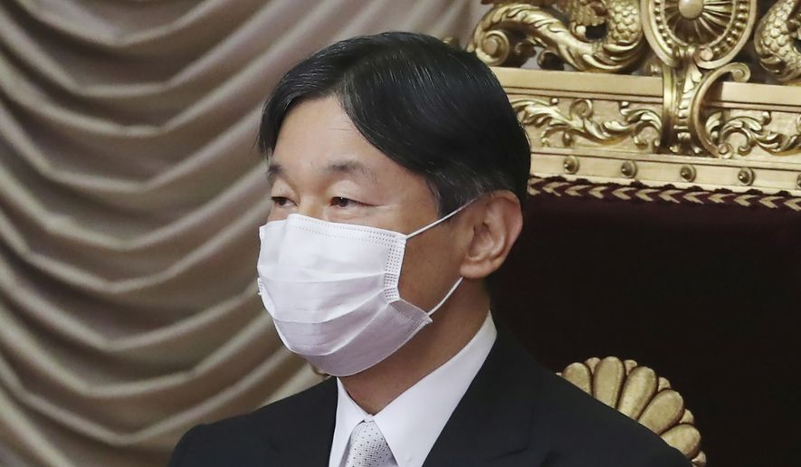 """In this Oct. 26, 2020, file photo, Japan's Emperor Naruhito wearing a face mask to protect against the coronavirus attends to formally open an extraordinary Diet session at the upper house of parliament in Tokyo. Naruhito appears to be """"extremely worried"""" about the possibility the Tokyo 2020 Olympics and Paralympics could trigger the spread of the coronavirus as feared by many people, head of Japanese imperial palace said Thursday, June 24, 2021 with the games coming up in one month. (AP Photo/Koji Sasahara, File) **FILE**"""