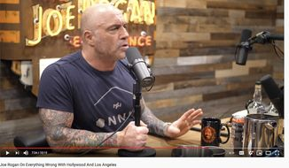 """Podcaster Joe Rogan discusses Hollywood culture, June 17, 2021. (Image: YouTube, Breaking Points, """"Joe Rogan on Everything Wrong with Hollywood and Los Angeles"""" interview landing page)"""