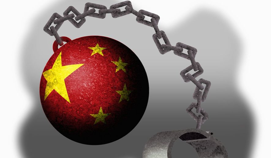 Illustration on slavery in communist China by Alexander Hunter/The Washington Times