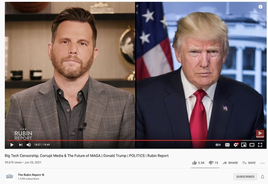 Dave Rubin discusses the political landscape with former President Trump in an interview airing on the latter's YouTube channel, June 25, 2021. (Image: YouTube, Dave Rubin, interview with President Trump landing page screenshot)