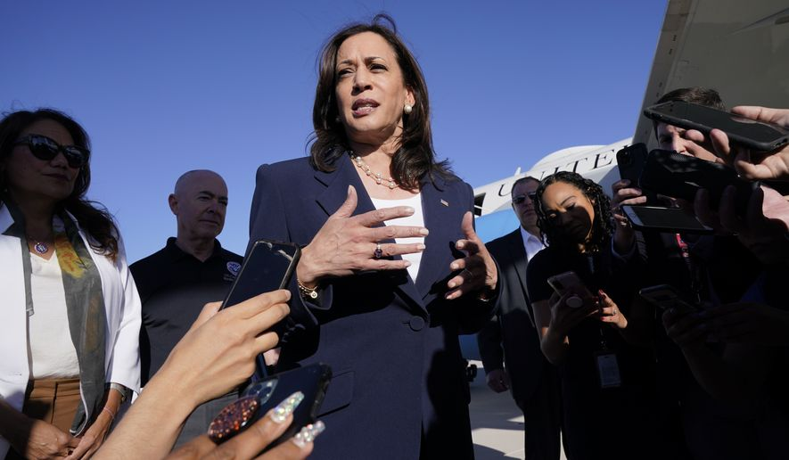 Vice President Kamala Harris talks to the media after stepping off Air Force Two, Friday, June 25, 2021, on arrival to El Paso, Texas. Harris will visit the U.S. southern border as part of her role leading the Biden administration's response to a steep increase in migration. (AP Photo/Jacquelyn Martin)