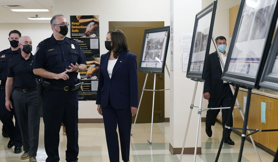 Vice President Kamala Harris and Homeland Security Secretary Alejandro Mayorkas, second left, visit the Paso del Norte (PDN) Port of Entry in El Paso, Texas, Friday, June 25, 2021. The Paso del Norte Port of Entry is one of the country's busiest pedestrian border crossings. It is located on the Paso Del Norte International Bridge. Thousands of people cross the border through the Port each day.(AP Photo/Jacquelyn Martin)