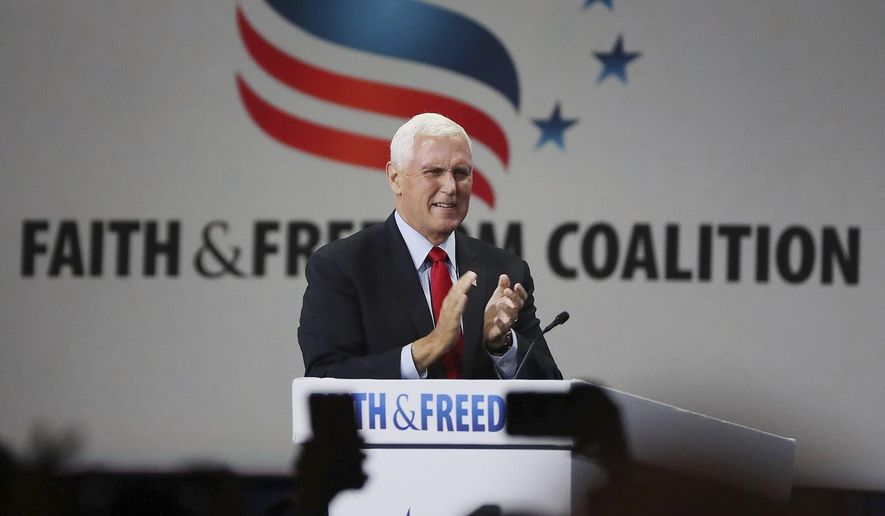 Former vice president Mike Pence speaks during the Road to Majority convention at Gaylord Palms Resort & Convention Center in Kissimmee, Fla., on Friday, June 18, 2021. (Stephen M. Dowell /Orlando Sentinel via AP) **FILE**