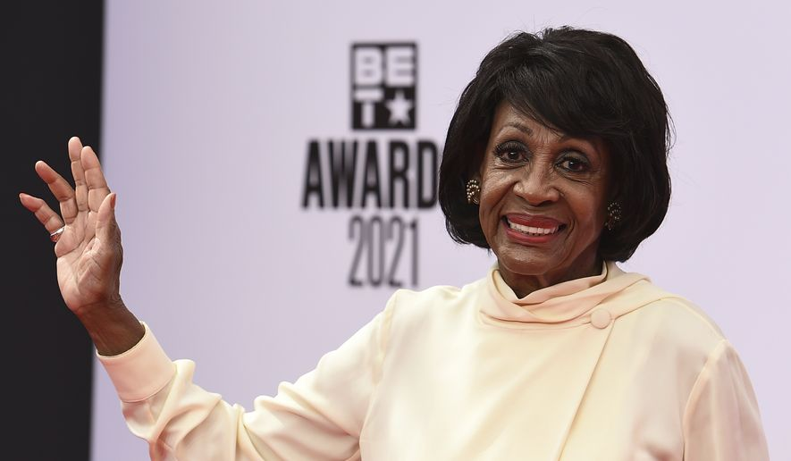 Rep. Maxine Waters, D-Calif. ,arrives at the BET Awards on Sunday, June 27, 2021, at the Microsoft Theater in Los Angeles. (Photo by Jordan Strauss/Invision/AP) ** FILE **