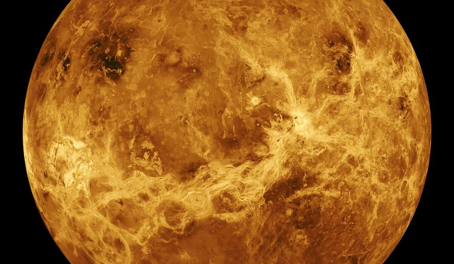 This image made available by NASA shows the planet Venus made with data produced by the Magellan spacecraft and Pioneer Venus Orbiter from 1990 to 1994.  (NASA/JPL-Caltech via AP)  **FILE**