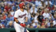 Washington Nationals' Kyle Schwarber watches his solo home run during the fifth inning of a baseball game against the New York Mets at Nationals Park, Monday, June 28, 2021, in Washington. (AP Photo/Alex Brandon) **FILE**