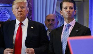FILE - In this Jan. 11, 2017, shows President-elect Donald Trump, left, his chief financial officer Allen Weisselberg, center, and his son Donald Trump Jr., right, attend a news conference in the lobby of Trump Tower in New York. Manhattan prosecutors have informed Donald Trump's company that it could soon face criminal charges stemming from a long-running investigation into the former president's business dealings. The New York Times reported that charges could be filed against the Trump Organization as early as next week related to fringe benefits the company gave to top executives, such as use of apartments. (AP Photo/Evan Vucci, File)