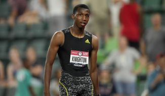 Erriyon Knighton finishes in third during the final in the men's 200-meter run at the U.S. Olympic Track and Field Trials Sunday, June 27, 2021, in Eugene, Ore. (AP Photo/Ashley Landis) **FILE**