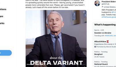 Dr. Anthony Fauci discusses the delta variant of the COVID-19 virus in a video shared by President Biden, June 24, 2021. (Image: Twitter, President Joe Biden, full-tweet screenshot)