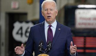 President Joe Biden speaks about infrastructure spending at the La Crosse Municipal Transit Authority, Tuesday, June 29, 2021, in La Crosse, Wis. (AP Photo/Evan Vucci)