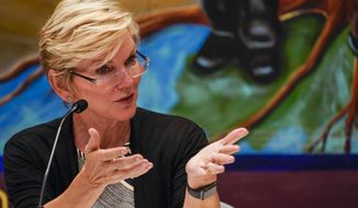 Secretary of Energy Jennifer Granholm speaks during a roundtable discussion at the Service Employees International Union 32BJ, Tuesday, June 29, 2021, in New York. Granholm is visiting the state to promote President Joe Biden's sweeping infrastructure plan. (AP Photo/Mary Altaffer)