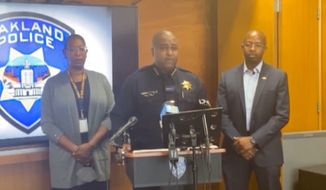 """Oakland Police Chief LeRonne Armstrong ripped the city council's decision to redirect $18 million from the department, saying during a press conference Monday it will undoubtedly increase police response times as the city experiences an """"out-of-control"""" uptick in crime. (Screenshot taken June 29, 2021, via YouTube/@Oakland Police)"""