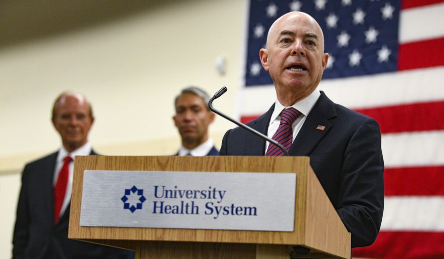 In this file photo, Homeland Security Secretary Alejandro N. Mayorkas is shown in this June 29, 2021 file photo.  (Billy Calzada/The San Antonio Express-News via AP)  **FILE**