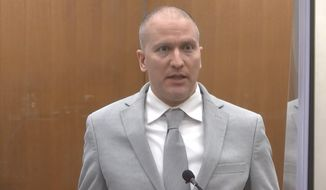 In this image taken from video, former Minneapolis police Officer Derek Chauvin addresses the court as Hennepin County Judge PeterCahill presides over Chauvin's sentencing, Friday, June 25, 2021, at the Hennepin County Courthouse in Minneapolis. Chauvin faces decades in prison for the May 2020 death of George Floyd.  (Court TV via AP, Pool)