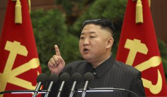 In this photo provided by the North Korean government, North Korean leader Kim Jong-un speaks during a Politburo meeting of the ruling Workers' Party in Pyongyang, North Korea, Tuesday, June 29, 2021. The content of this image is as provided and cannot be independently verified. (Korean Central News Agency/Korea News Service via AP)