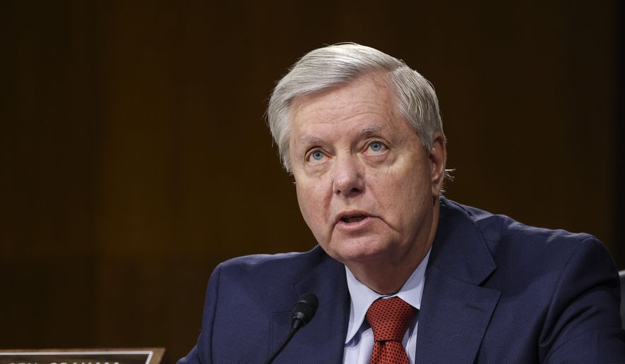 Sen. Lindsey Graham, R-S.C., speaks during a Senate Appropriations Committee hearing, Thursday, June 17, 2021, on Capitol Hill in Washington. (Evelyn Hockstein/Pool via AP) ** FILE **
