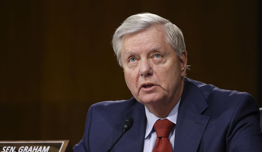 Sen. Lindsey Graham, R-S.C., speaks during a Senate Appropriations Committee hearing, Thursday, June 17, 2021, on Capitol Hill in Washington. (Evelyn Hockstein/Pool via AP)