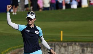 Nelly Korda of the U.S. celebrates after winning the KPMG Women's PGA Championship golf tournament, Sunday, June 27, 2021, in Johns Creek, Ga. (AP Photo/John Bazemore) **FILE**