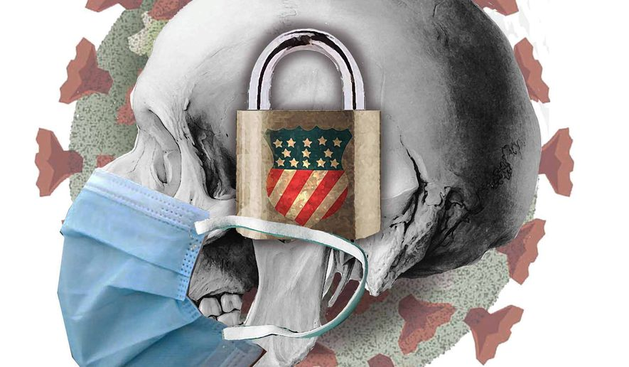 Illustration on the negative results of COVID-19 lockdowns by Alexander Hunter/The Washington Times
