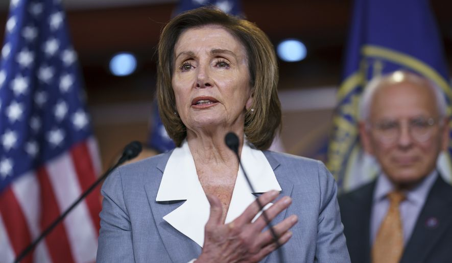 Speaker of the House Nancy Pelosi, D-Calif., talks at a news conference as the House prepares to vote on the creation of a select committee to investigate the Jan. 6 insurrection, at the Capitol in Washington, Wednesday, June 30, 2021. (AP Photo/J. Scott Applewhite)