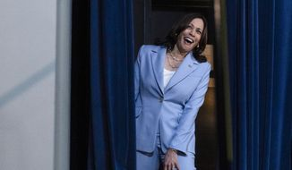 Vice President Kamala Harris laughs as she departs after speaking to the Generation Equality Forum in the South Court Auditorium in the Eisenhower Executive Office Building on the White House campus, Wednesday, June 30, 2021, in Washington. (AP Photo/Alex Brandon)