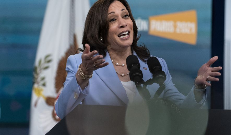 Vice President Kamala Harris speaks to the Generation Equality Forum in the South Court Auditorium in the Eisenhower Executive Office Building on the White House campus, Wednesday, June 30, 2021, in Washington. (AP Photo/Alex Brandon)