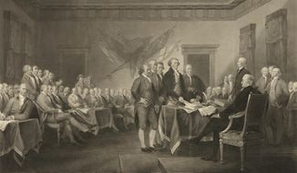 """This image shows an 1876 engraving titled """"Declaration of Independence, July 4th, 1776"""" made available by the Library of Congress. On that day, the Continental Congress formally endorsed the Declaration of Independence. Celebrations began within days: parades and public readings, bonfires and candles and the firing of 13 musket rounds, one for each of the original states. Nearly a century passed before the country officially named its founding a holiday. ( J. Trumbull, W.L. Ormsby via AP)"""