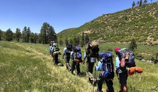 In this June 10, 2021 photo provided by Barry Bedlan, members of Troop 298 of Frisco, Texas are among the first to embark a 12-day trek across the Philmont Scout Ranch, outside Cimarron, N.M. Boy Scout and Girl Scouts' leadership say their summer camps are full, special events are sold out, and they're expecting many thousands of families – some new to scouting, some who left during the pandemic – to sign up now that activities are occurring in-person rather than virtually. (Barry Bedlan via AP)