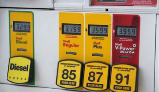 In this Tuesday, June 29, 2021, file photo, the prices per gallon are displayed on the pump on a sign at a gasoline station in Denver. (AP Photo/David Zalubowski) ** FILE **