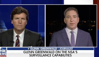 """Journalist Glenn Greenwald discusses the National Security Agency with Fox News host Tucker Carlson, June 30, 2021. (Image: Fox News, """"Tucker Carlson Tonight"""" video screenshot)"""