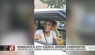 """Minneapolis City Council Vice President Andrea Jenkins said she was """"held hostage"""" Sunday after a group of Black Lives Matter protesters surrounded her car and coerced her into signing their list of demands. (Screenshot taken July 1, 2021, via KARE)"""