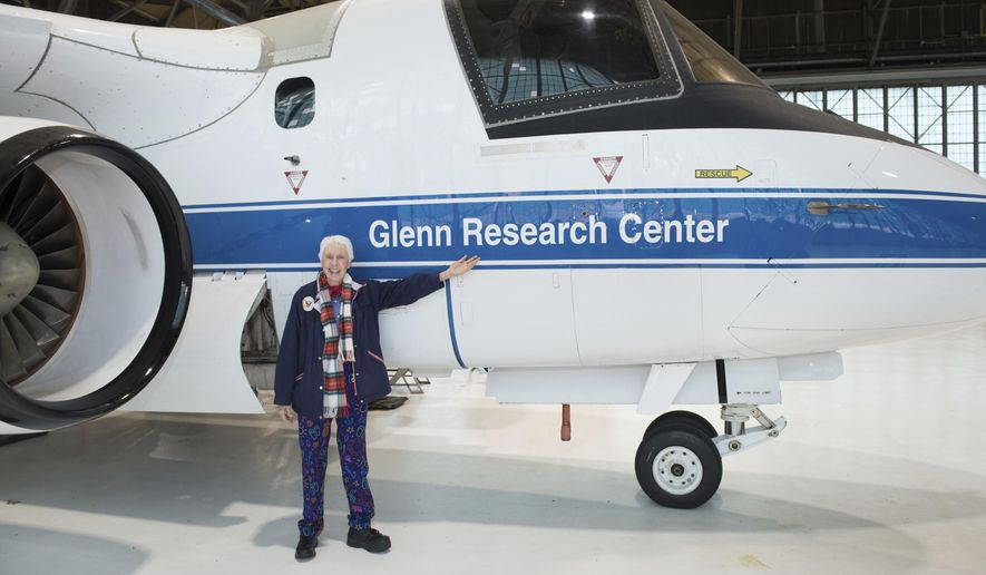 """In this 2019 photo made available by NASA, Mercury 13 astronaut trainee Wally Funk visits the Glenn Research Center at Lewis Field in Cleveland, Ohio. On Thursday, July 1, 2021, Blue Origin announced the early female aerospace pioneer will be aboard the company's July 20 launch from West Texas, flying as an """"honored guest."""" (NASA via AP)"""