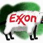 Illustration on Greenpeace and Exxon by Alexander Hunter/The Washington Times