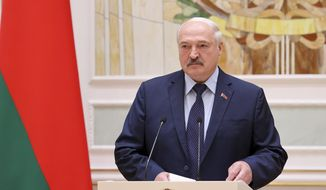 Belarus President Alexander Lukashenko speaks during an awarding ceremony in Minsk, Belarus, Friday, July 2, 2021. Lukashenko said Friday that he has ordered to shut the border with Ukraine, alleging that it has become a conduit for weapons smuggling. (Sergei Shelega/BelTA Pool Photo via AP, File)