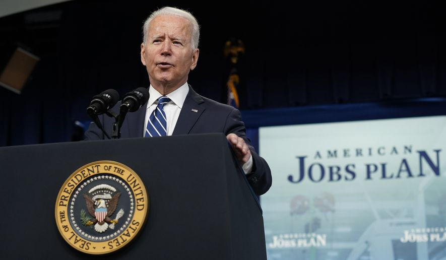 President Joe Biden speaks about the June jobs report in the South Court Auditorium on the White House campus, Friday, July 2, 2021, in Washington. (AP Photo/Patrick Semansky)