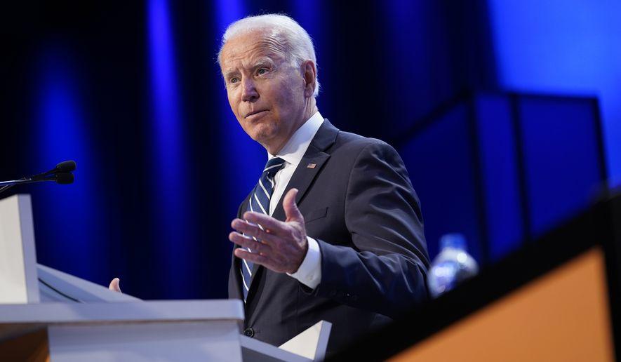 President Joe Biden speaks at the National Education Association's annual meeting at the Walter E. Washington Convention Center in Washington, Friday, July 2, 2021. (AP Photo/Patrick Semansky)