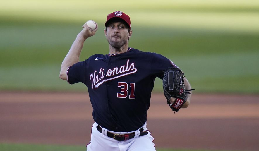 Washington Nationals starting pitcher Max Scherzer throws a pitch to the Los Angeles Dodgers during the first inning of a baseball game, Friday, July 2, 2021, in Washington. (AP Photo/Julio Cortez) **FILE**