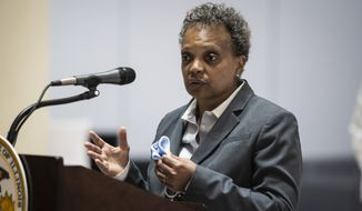 In this Monday, May 10, 2021, file photo, Mayor Lori Lightfoot speaks during a news conference in Chicago. (Ashlee Rezin Garcia/Chicago Sun-Times via AP) ** FILE **