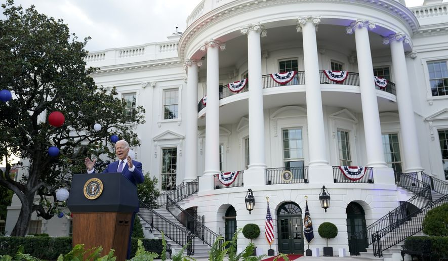 President Joe Biden speaks during an Independence Day celebration on the South Lawn of the White House, Sunday, July 4, 2021, in Washington. (AP Photo/Patrick Semansky)