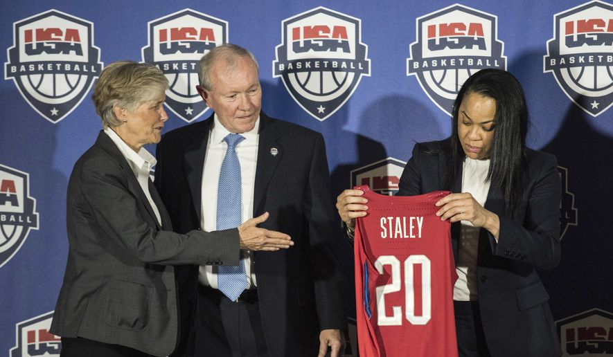 Carol Callan, left, USA Basketball Women's National Team Director, with USA Basketball Chairman Gen. Martin Dempsey, center, present a jersey to South Carolina women's head basketball coach Dawn Staley, right, during a press conference at Williams Brice Stadium Friday, March 10, 2017, in Columbia, S.C. (AP Photo/Sean Rayford) **FILE**