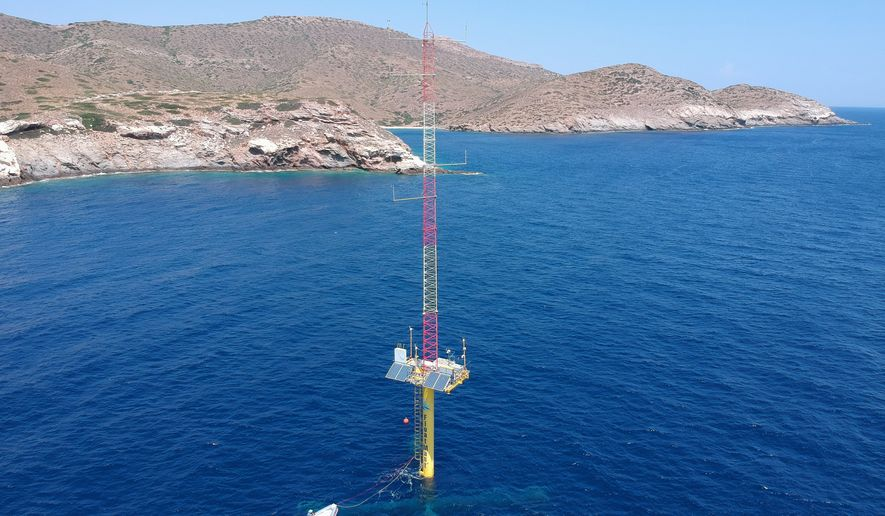 FloatMast platform in the Aegean Sea completing a 12 month wind data measurements campaign initiating Offshore Wind in Greece