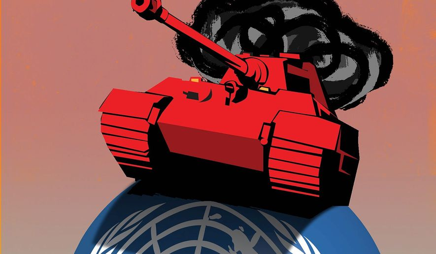 Conquest of the UN by China and Russia Illustration by Linas Garsys/The Washington Times