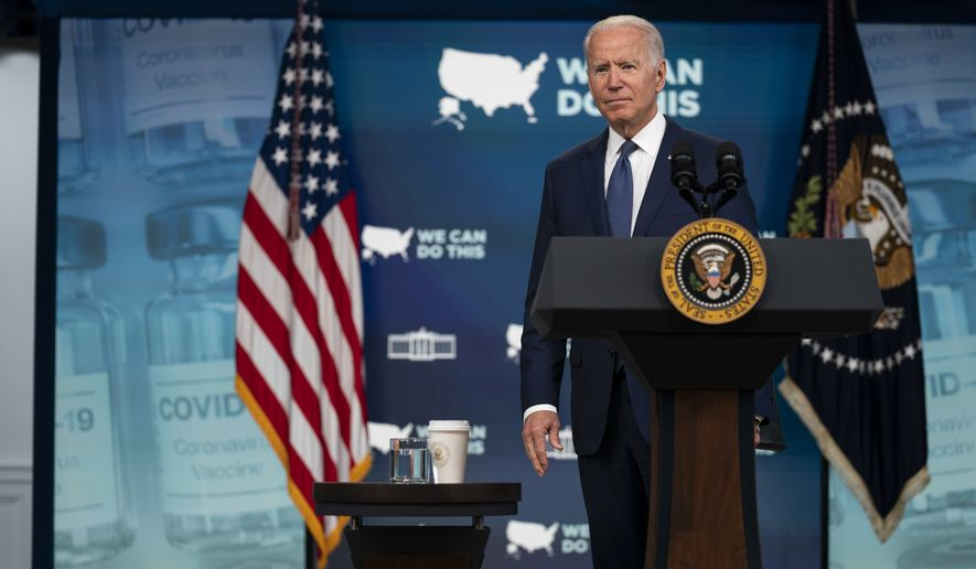 President Joe Biden listens to a question after delivering remarks about the COVID-19 vaccination program during an event in the South Court Auditorium on the White House campus, Tuesday, July 6, 2021, in Washington. (AP Photo/Evan Vucci)