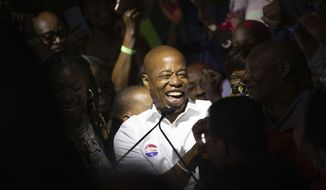Mayoral candidate Eric Adams mingles with supporters during his election night party, late Tuesday, June 22, 2021, in New York. Adams has won the Democratic primary for mayor of New York City. Adams triumphed over a large field in New Yorks first major race to use ranked choice voting. (AP Photo/Kevin Hagen)