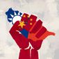Illustration on America's support for Taiwan by Linas Garsys/The Washington Times