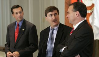 Virginia Attorney General Jerry Kilgore, left, looks on as debate moderator and University of  Virginia political science professor Larry J Sabato, center, and Lt. Gov. Tim Kaine, right, talk prior to a debate sponsored by the Virginia Associated Press Managing Editors Association in Richmond, Va., Wednesday, Dec. 8, 2004. Kilgore, a Republican, who plans to formally announce his candidacy for governor later next year, is expected to be opposed in the race by Kaine, a Democrat. (AP Photo/Steve Helber) **FILE**