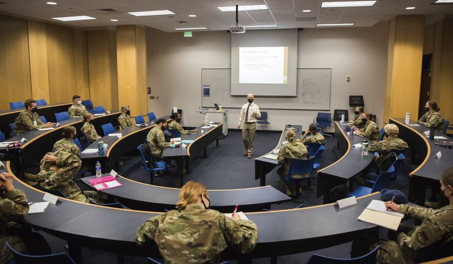 In this image provided by the U.S. Air force Academy, cadetsstart the school year with a mix of reduced class sizes and remote learning on Aug. 12, 2020, at the U.S. Air Force Academy in Colorado Springs, Colo. (Trevor Cokley/U.S. Air Force Academy via AP) ** FILE **
