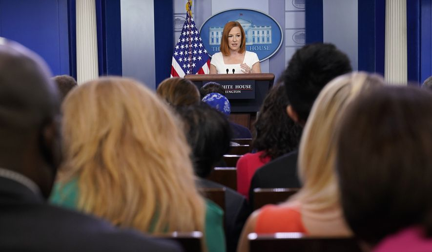 White House press secretary Jen Psaki speaks during the daily briefing at the White House in Washington, Thursday, July 8, 2021. (AP Photo/Susan Walsh)