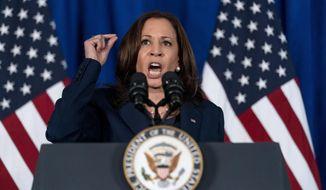 Vice President Kamala Harris speaks about voting rights at Howard University in Washington, Thursday, July 8, 2021. (AP Photo/Andrew Harnik)