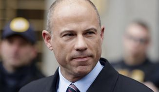 Attorney Michael Avenatti, speaks outside court in New York. Avenatti faces sentencing Thursday over a year after a jury concluded he tried to extort millions of dollars from Nike by threatening the company with bad publicity. (AP Photo/Julio Cortez, File)